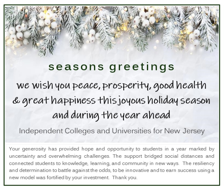 Season's Greetings from NJ Independent Colleges